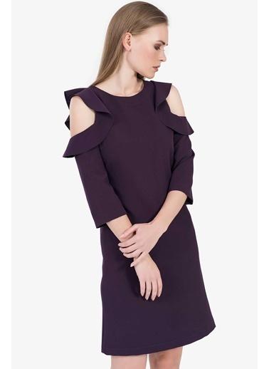 İroni Omuz Fırfırlı Elbise Mor
